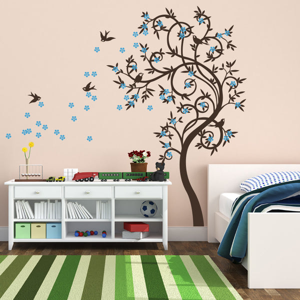 Funky Curved Tree with Birds R18