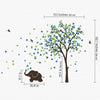 Single Tree with Birds and Baby Elephant Decal Vinyl Wall Sticker