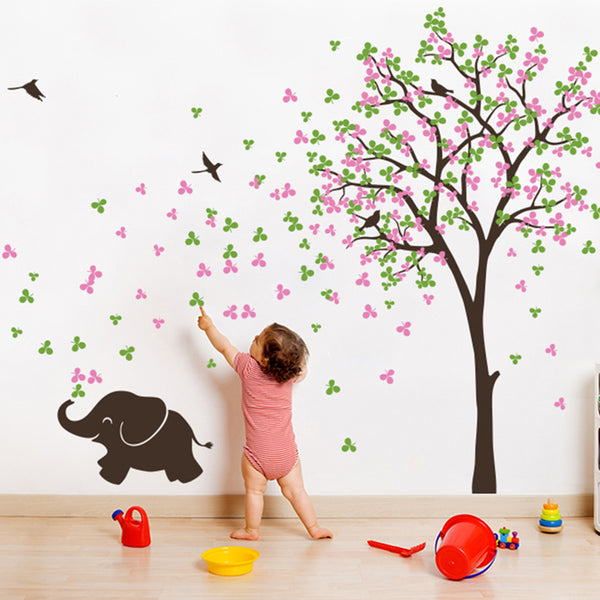 Single Tree with Birds and Baby Elephant R19