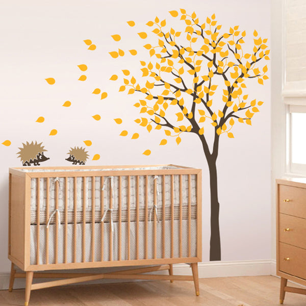 Nursery Tree Wall Sticker With 2 Hedgehogs Decal Vinyl Wall Sticker