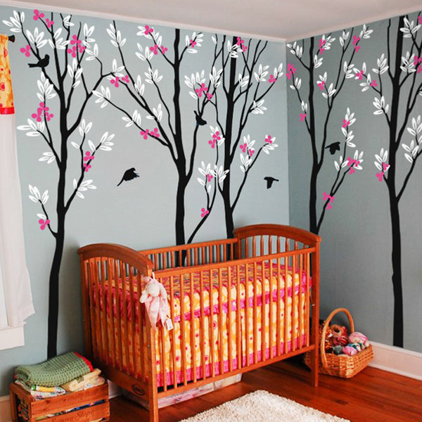 5 Trees with Birds Decal Vinyl Wall Sticker