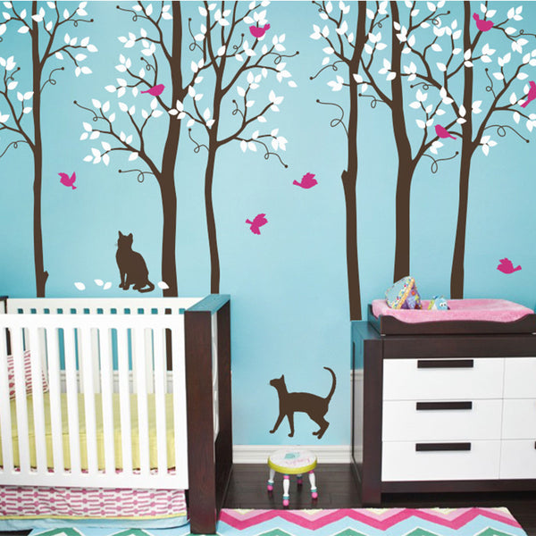 5 trees with Cats and Birds R23