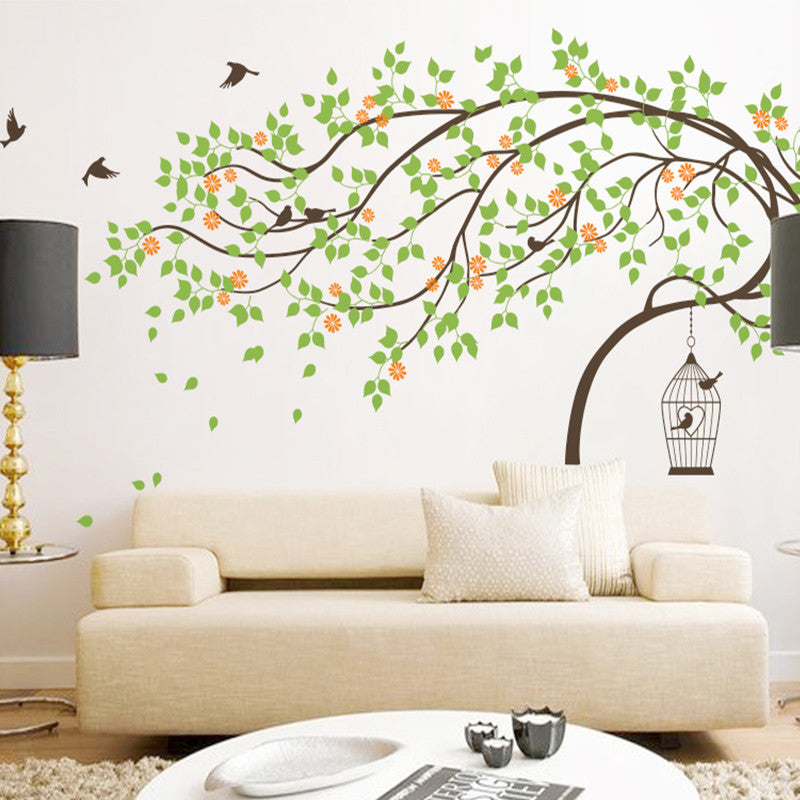 Leaning Tree with Birds and Birdcage Decal Vinyl Wall Sticker