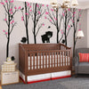 5 Trees with hedgehogs and Little Bear Decal Vinyl Wall Sticker