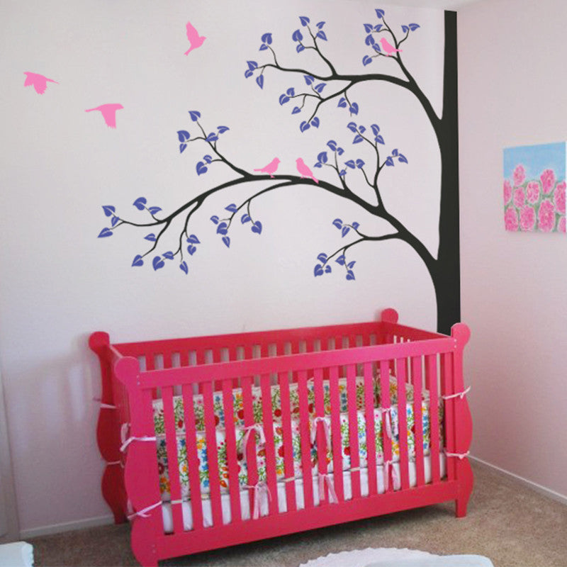 Tree with 2 branches and Birds Decal Vinyl Wall Sticker