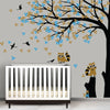 Corner Tree with Racoons Decal Vinyl Wall Sticker