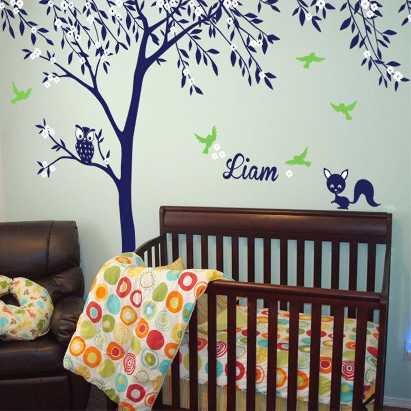 Personalised Named Thin Tree with Owl and Squirrel Decal Vinyl Wall Sticker