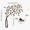 Leaning Right Tree with Baby Bear Decal Vinyl Wall Sticker
