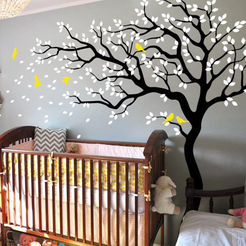 Curvy Tree with Birds Decal Vinyl Wall Sticker
