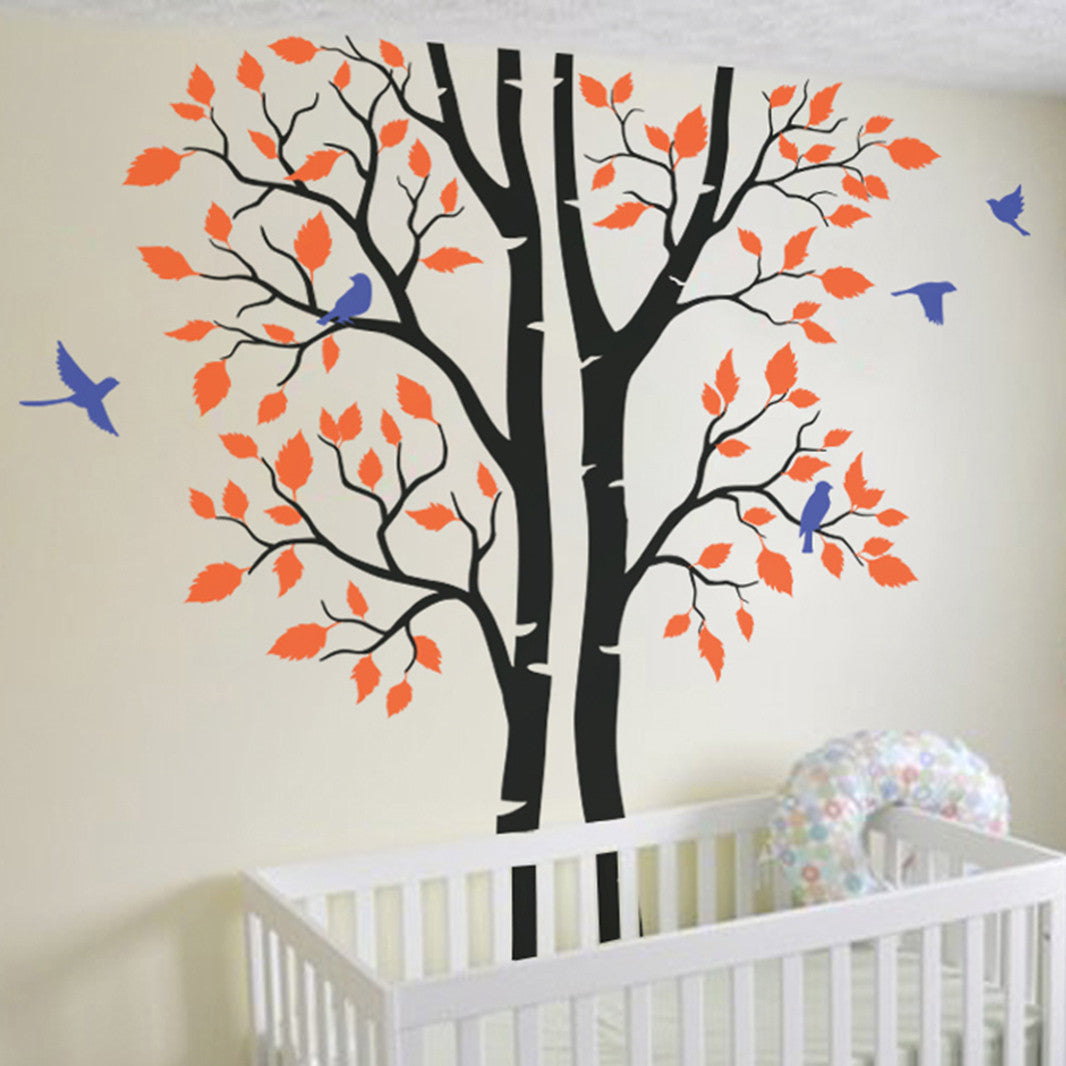 nursery tree wall sticker with birds