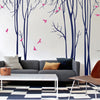 Tall Thin Trees with Birds Decal Vinyl Wall Sticker