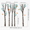 5 trees with Birds and Leaves Decal Vinyl Wall Sticker