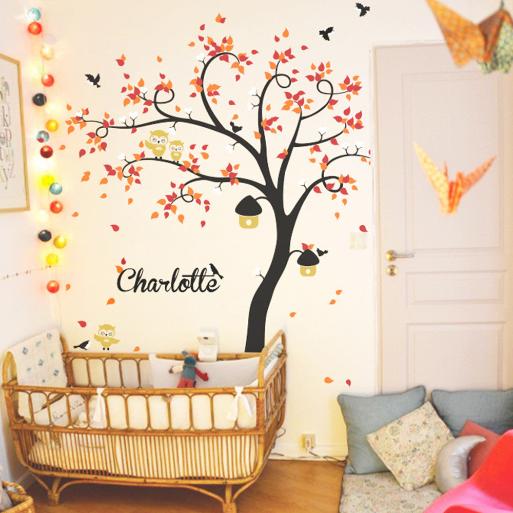 Curved Tree With Birds, Owls And Name Decal Vinyl Wall Sticker