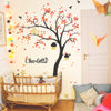 Curved Tree With Birds, Owls And Name Wall Sticker R48