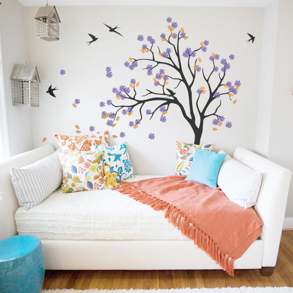 A Classic Tree With Birds Decal Vinyl Wall Sticker