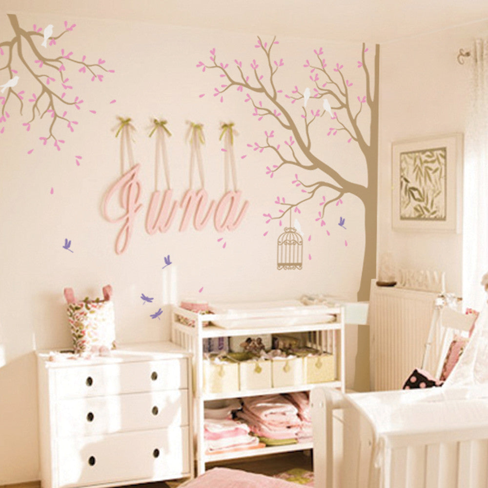 Sophisticated Corner Tree With Birds And Dragonflies Decal Vinyl Wall Sticker