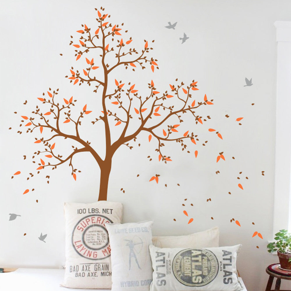 Large Tree With Birds And Your Name Decal Vinyl Wall Sticker