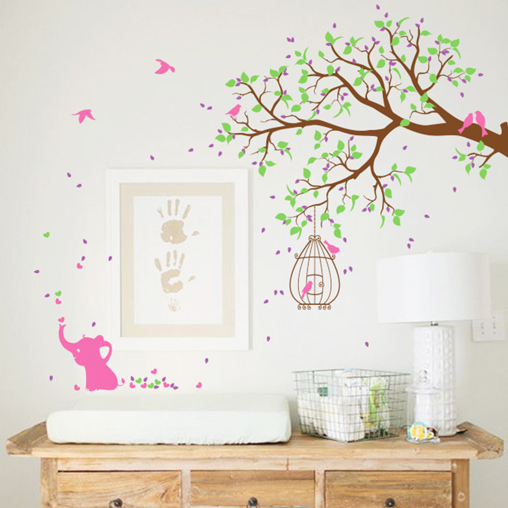 Tree Branch With Birds And Funky Elephant Wall Sticker R54
