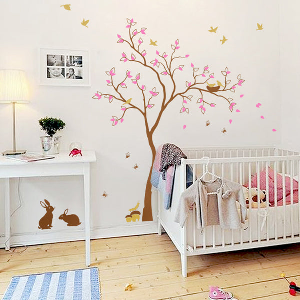 Pretty Tree With Birds, Rabbits And Caterpillar Wall Sticker R55