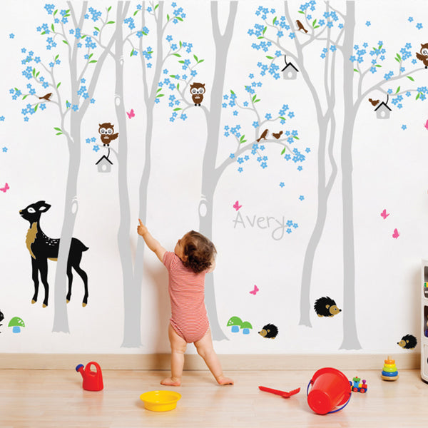Woodland Scene With Lots Of Animals And Your Name Wall Sticker R57