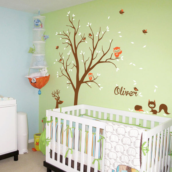 Tree With Animals And Name Wall Sticker R58