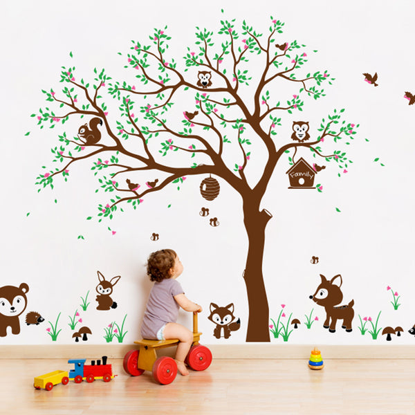 Woodland Animals And Tree Wall Sticker R61