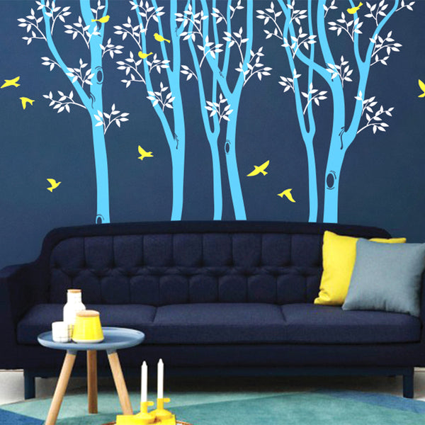 Woodland Trees And Birds Wall Sticker R63