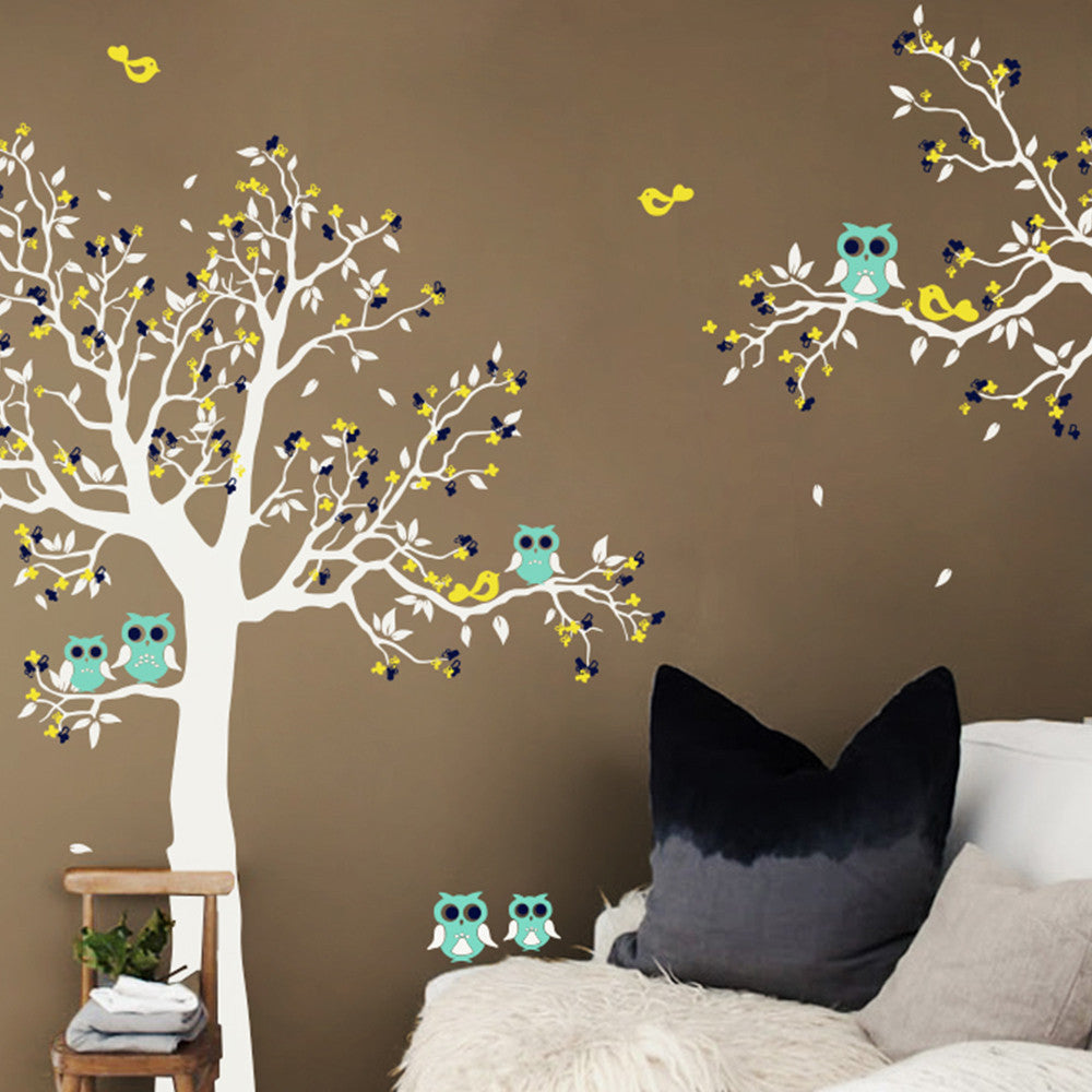 Tree And Branch With Owls And Birds Decal Vinyl Wall Sticker