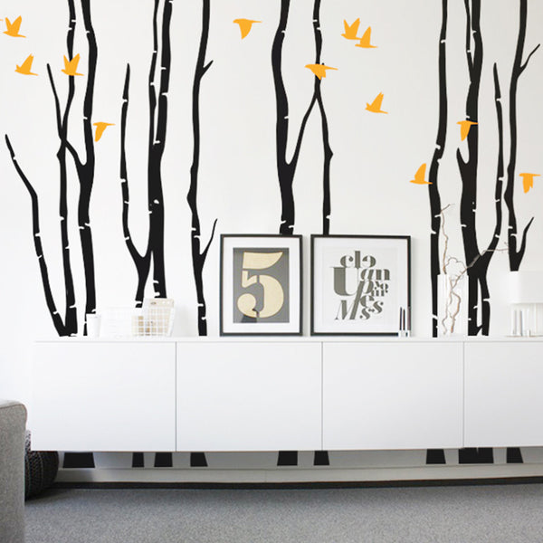 Bare Woodland Trees With Birds R66