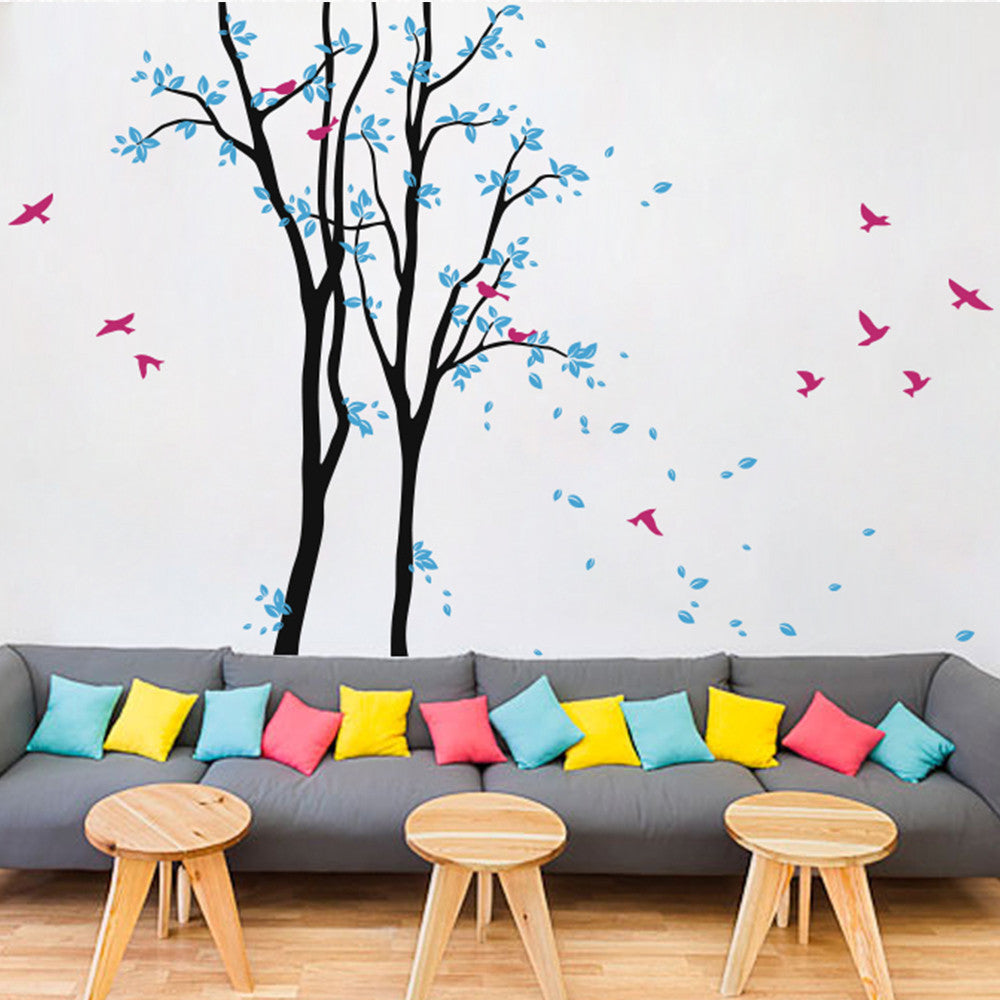 Two Tall Trees With Birds And Blowing Leaves Decal Vinyl Wall Sticker