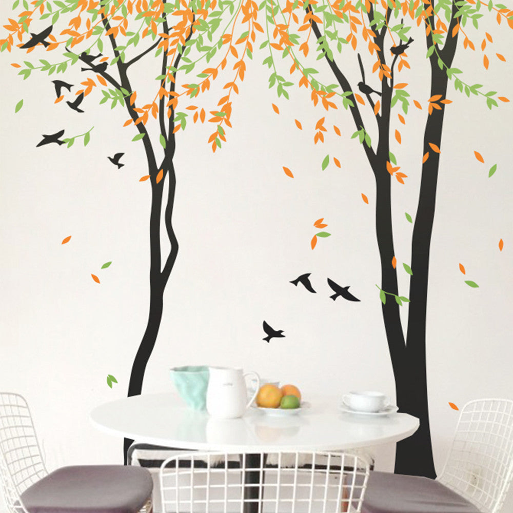Two Tall Trees With Birds Decal Vinyl Wall Sticker