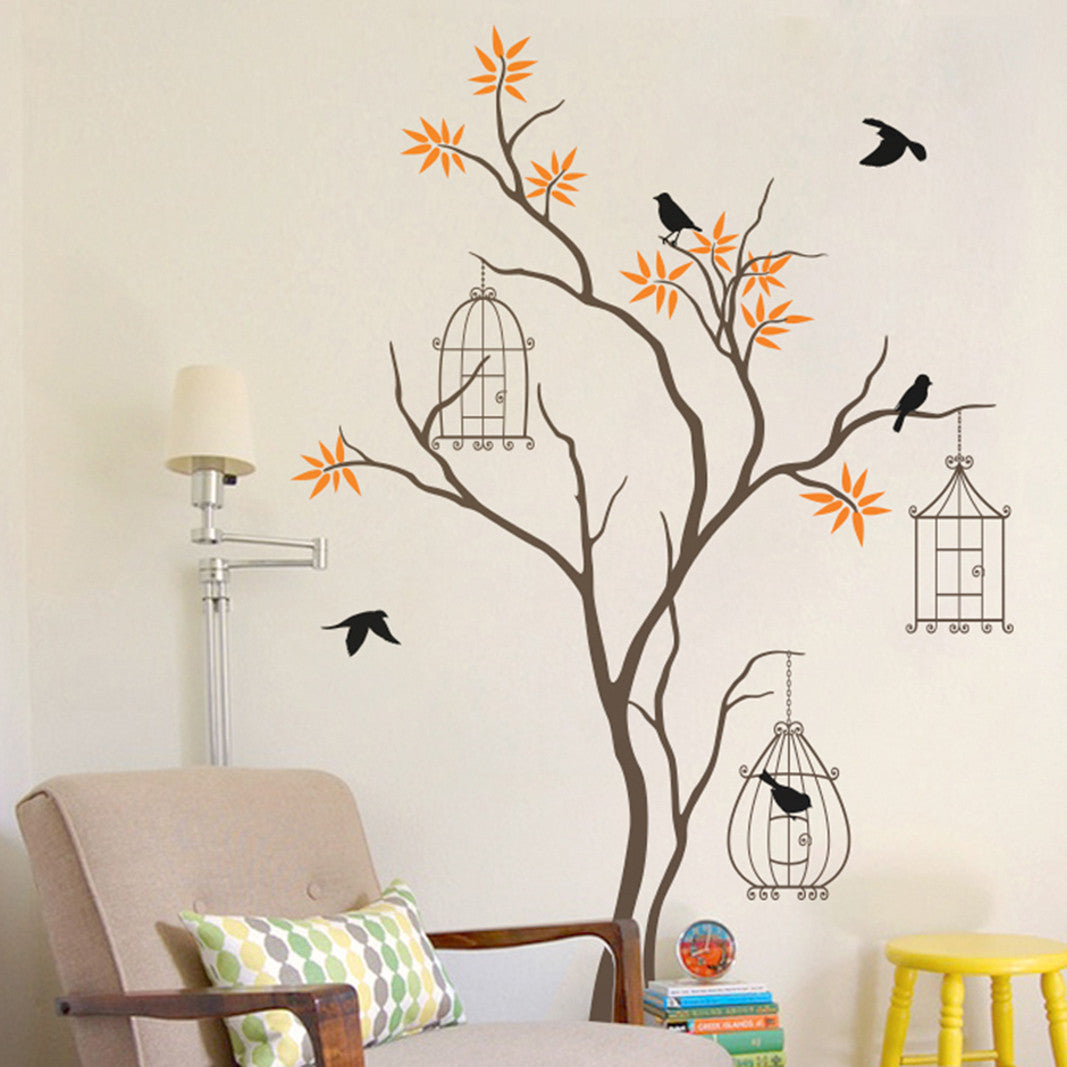 Tree Wall Sticker with Birds and Birdcage Decal Vinyl Wall Sticker