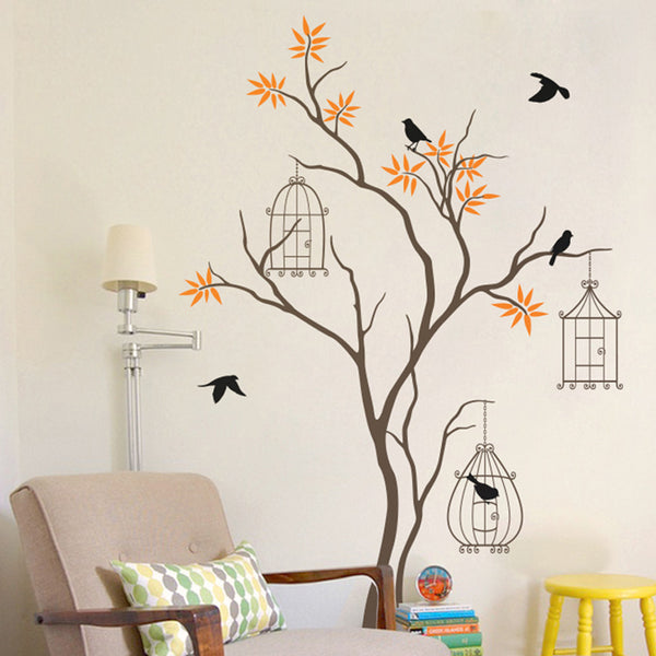 Tree Wall Sticker with Birds and Birdcage R6