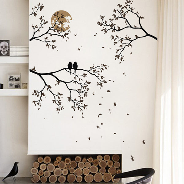 Romantic Branches, Birds And Moon Sticker R71