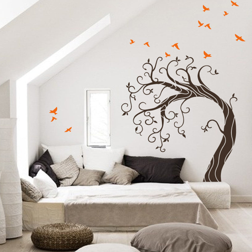 Curved Tree With Birds Decal Vinyl Wall Sticker