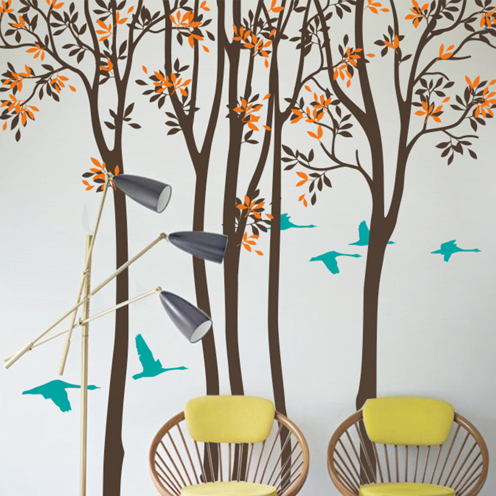 Woodland Trees With Birds Decal Vinyl Wall Sticker
