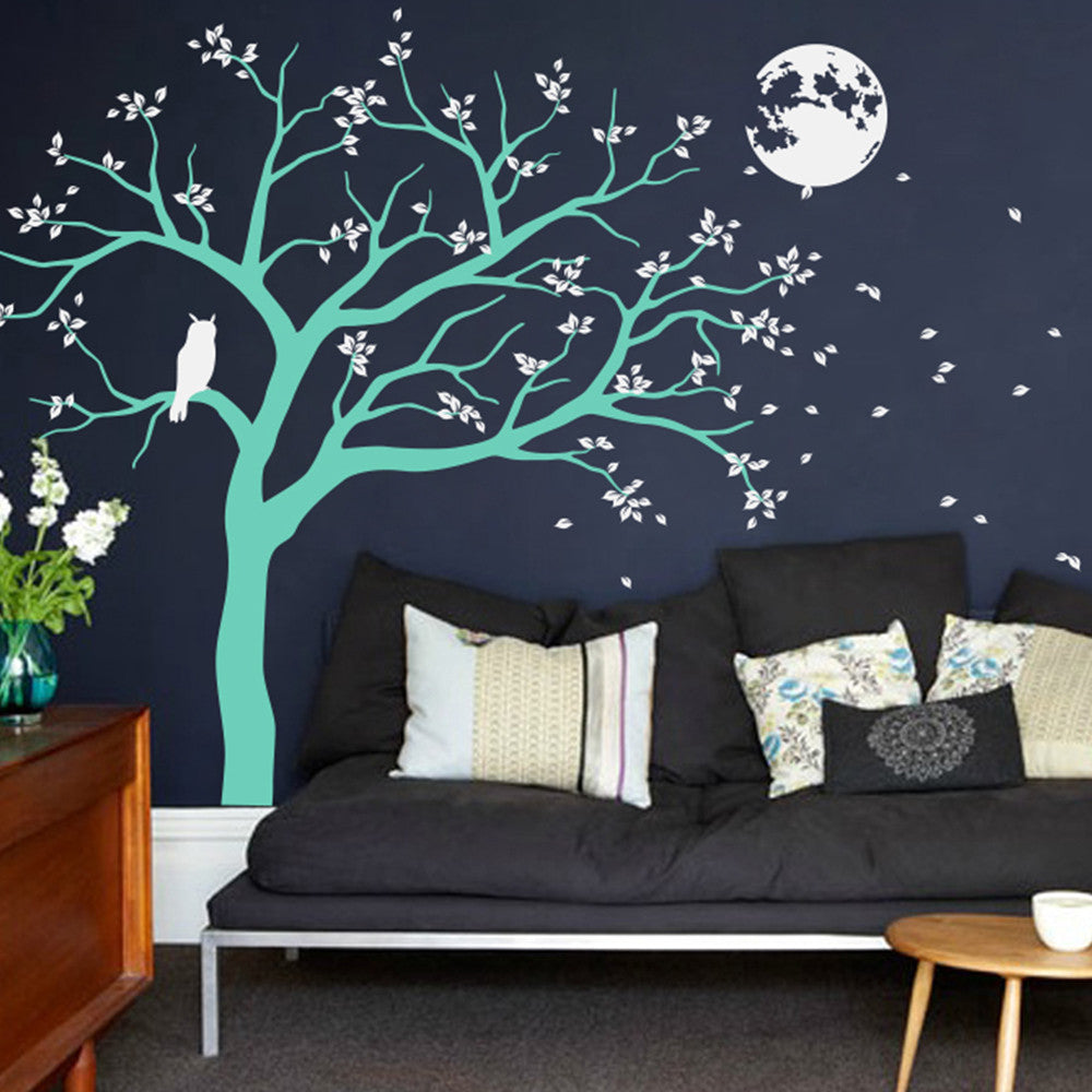 Night Time Tree With Moon And Owl Decal Vinyl Wall Sticker