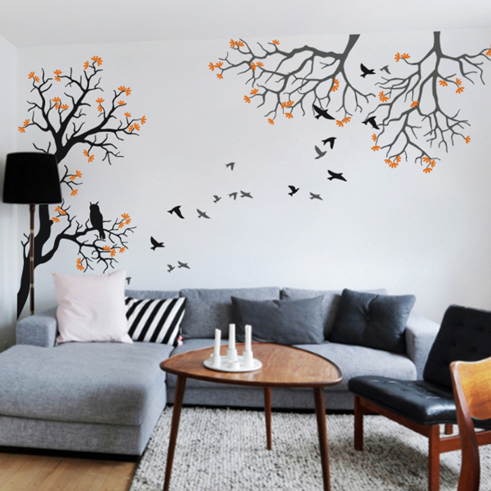 Tree And Branches With Owl And Birds Decal Vinyl Wall Sticker