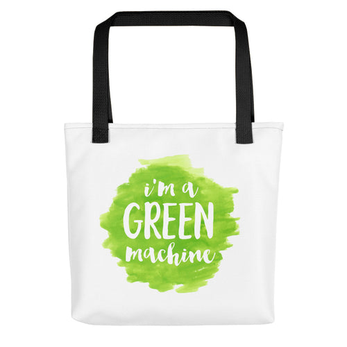 I'M A GREEN MACHINE Tote Bag. <font color='red'>Now 15% OFF!</font>
