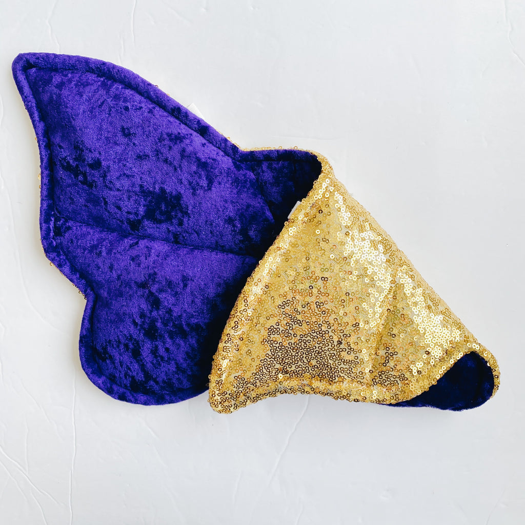 Gold sequin purple crushed velvet reversible wings
