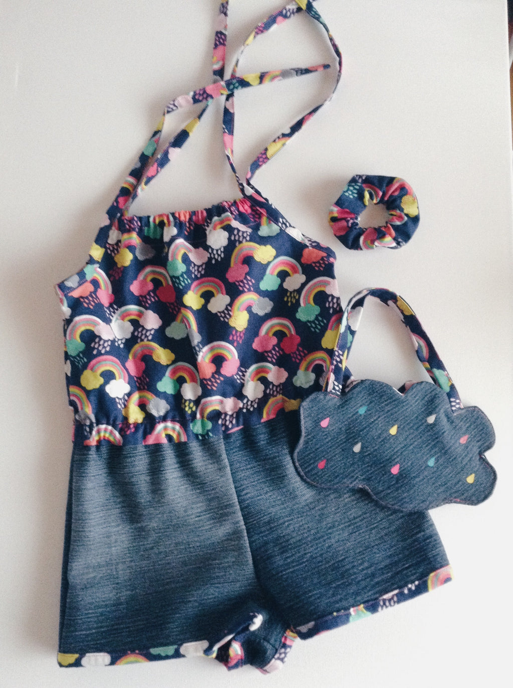 The rainbow Ruby Wild Romper size 2 with matching purse