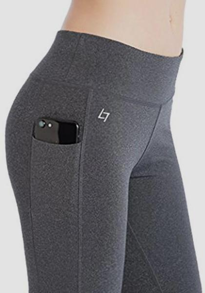 Skinny Capris Yoga Pants With Pockets On Waistband & Sides-Capris-2UBest.com-Light Gray-S-2UBest.com