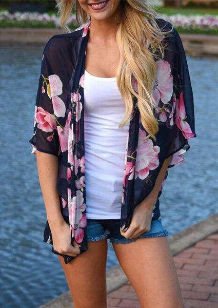 Printed Flower Floral Sleeve Cardigan