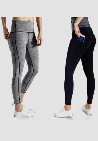 Gym Athletic Skinny Fitness Yoga Pants-Long Leggings-2UBest.com-Grey/Black-L-Long-2UBest.com