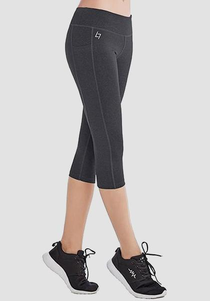 Skinny Capris Yoga Pants With Pockets On Waistband & Sides-Capris-2UBest.com-2UBest.com