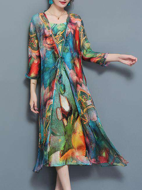 Lotus Printed Multi Color Chiffon Pambansang Estilo Long Dress