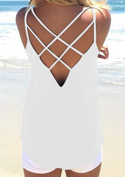 Solid Hollow Out Backless Letter Camisole-Tanks-2ubest.com-White-S-2UBest.com