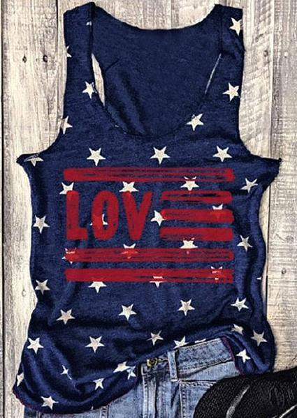 Love Star O-Neck Sleeveless Printed Tank