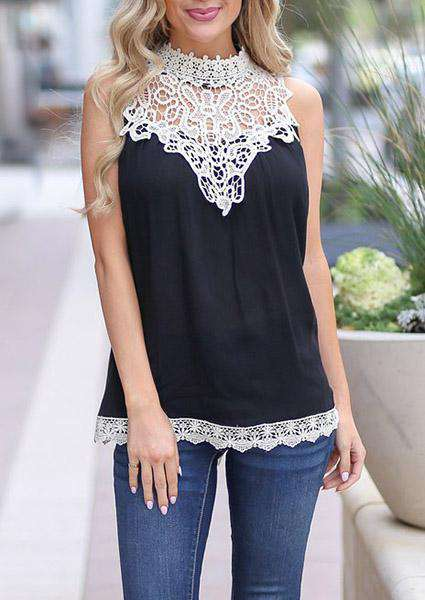Lace Splice Sleeveless O-neck Tank