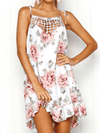 Strap Mesh Print Chiffon Dress